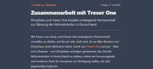 Tresor One DivDiary
