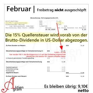 Aktiengram Besteuerung US-Dividende   Vergleich mit und ohne Freibetrag
