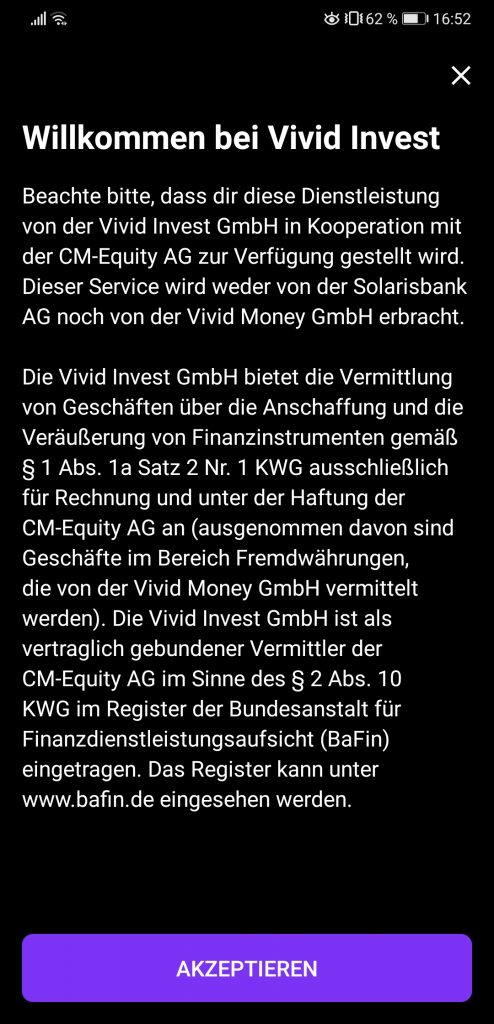 Vivid Money neues Feature Broker