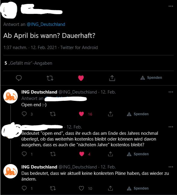 Twitter ING Diba Sparpläne