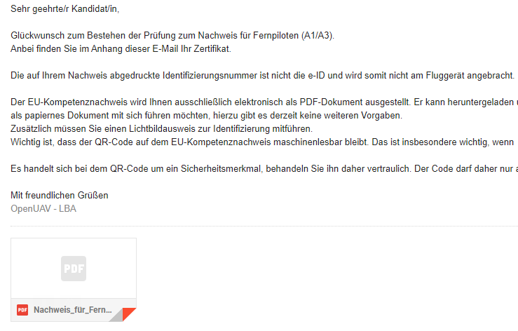 Zertifikat Drohne Mail
