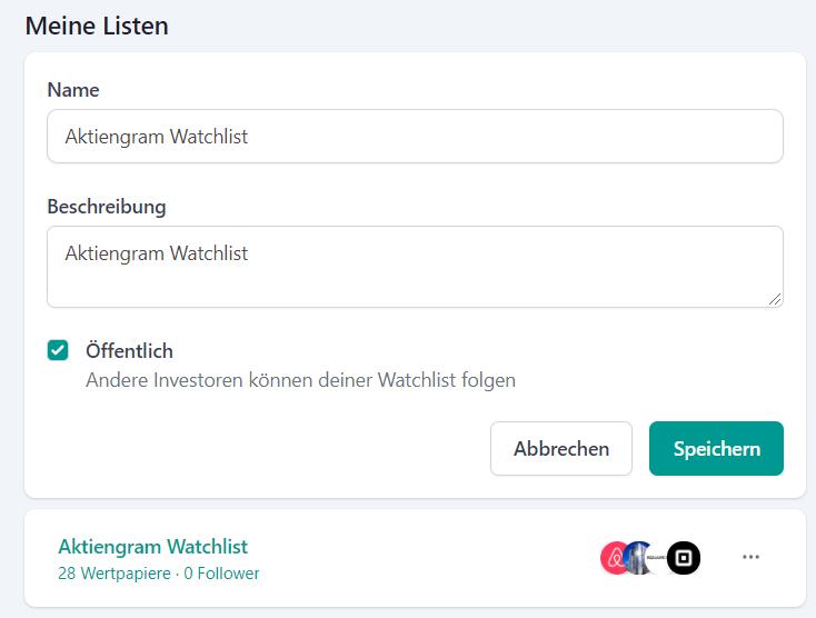 Watchlist bei Tresor erstellen