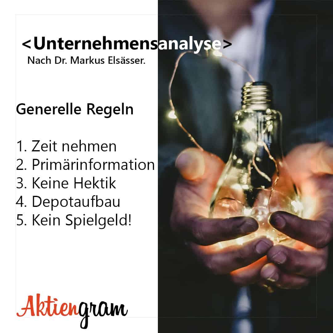 Unternehmensanalyse nach Dr. Markus Elsässer